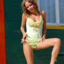Amazing russian babe undresses outdoors and shows her beautiful shaved pussy