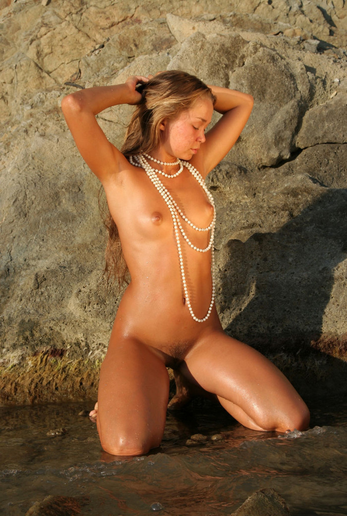 Beautiful Russian Teen Posing Topless At Rocks  Russian -5842