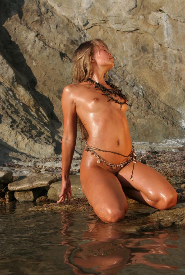 Beautiful Russian Teen Posing Topless At Rocks  Russian -9420