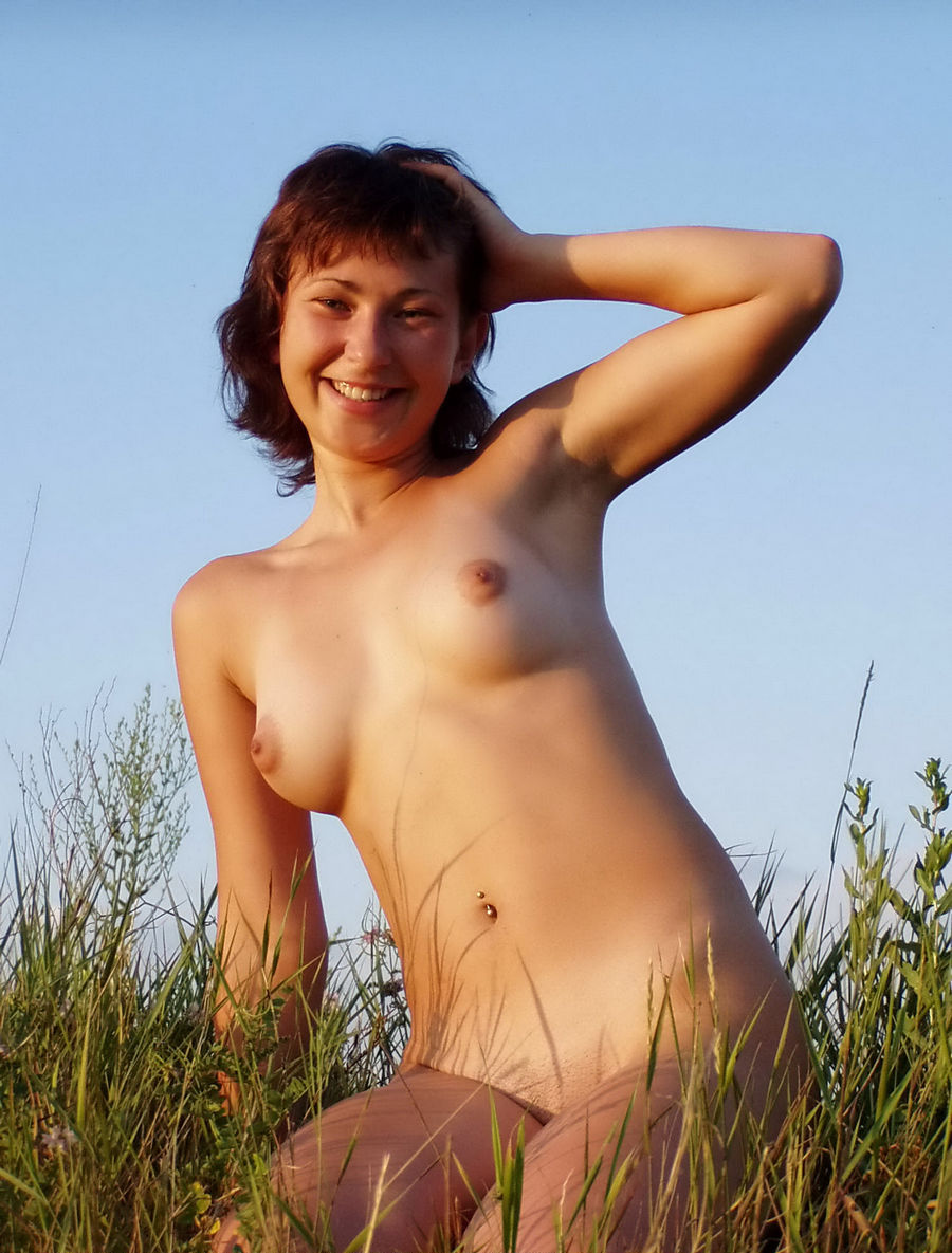 Shorthaired russian girl posing naked