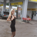 Perfect russian blonde flashes her amazing boobs and pussy at public