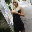 Perfect russian blonde teen shows boobs and pussy at public
