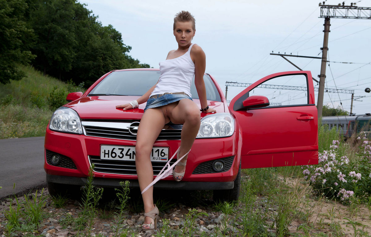 Short-Haired Russian Girl Posing Naked At Public Near Car -8635