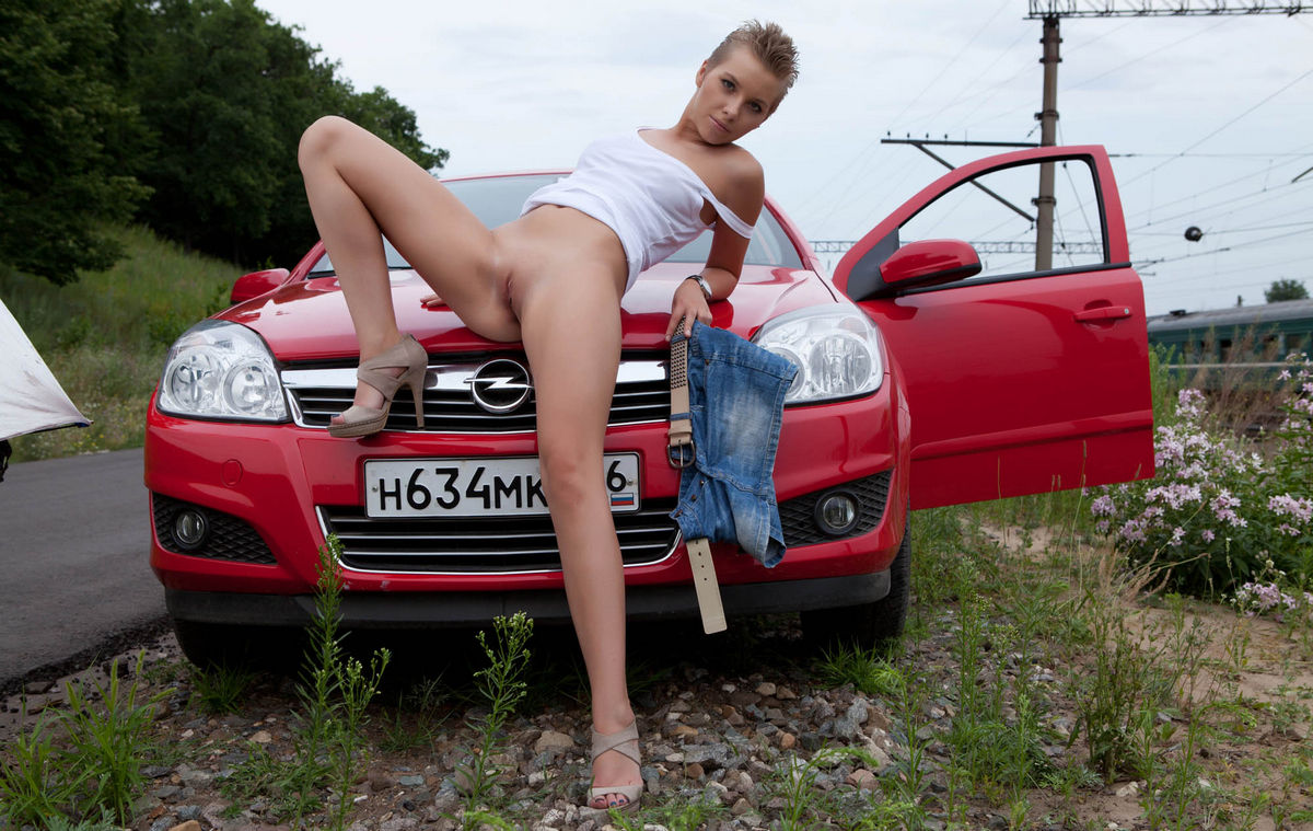 Short-Haired Russian Girl Posing Naked At Public Near Car -6372