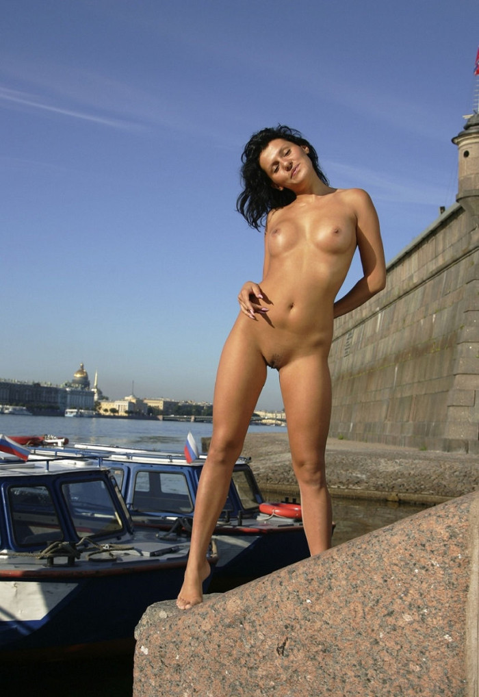 Smiling Russian Brunette With Perfect Body Posing Naked At Public Place -7235