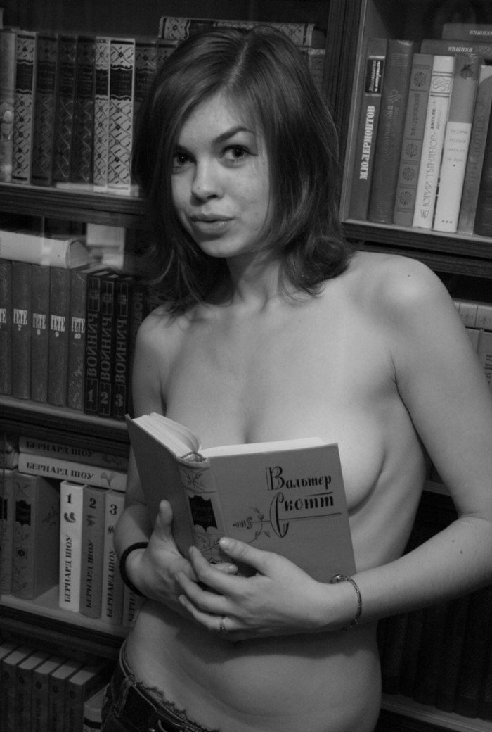 Sweet russian library girl shows boobs