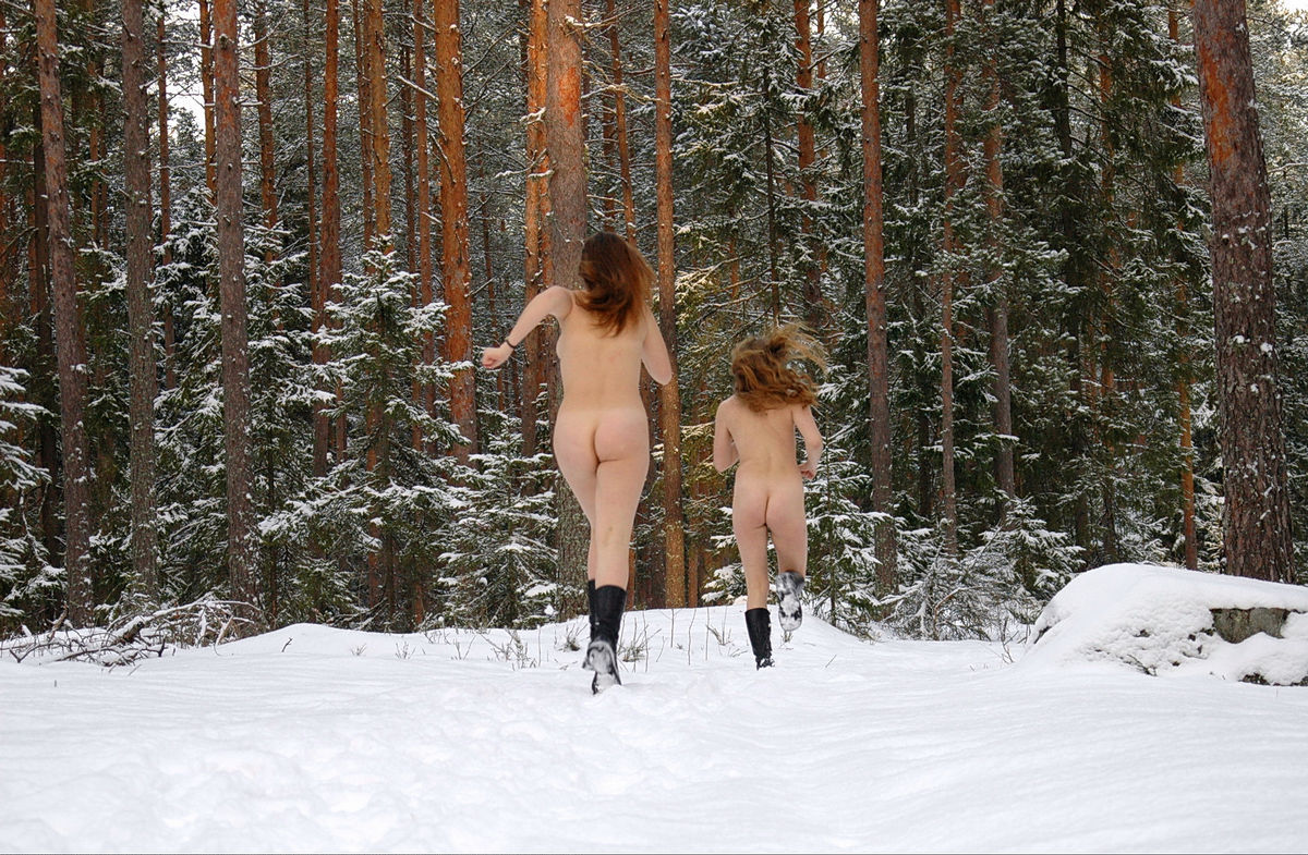 Two Russian Girls Walks Naked At Winter Forest  Russian -9746
