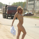 Hot teen walks naked at public