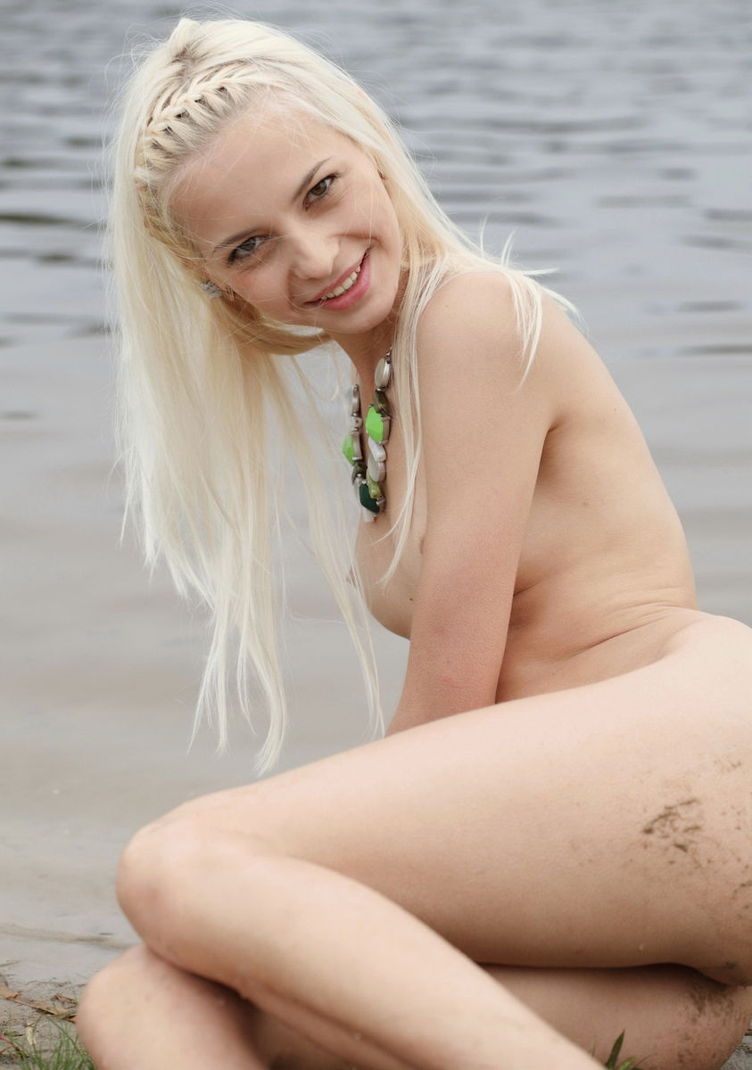 Smiling Blonde Teen Posing Naked Outdoors  Russian Sexy Girls-5614