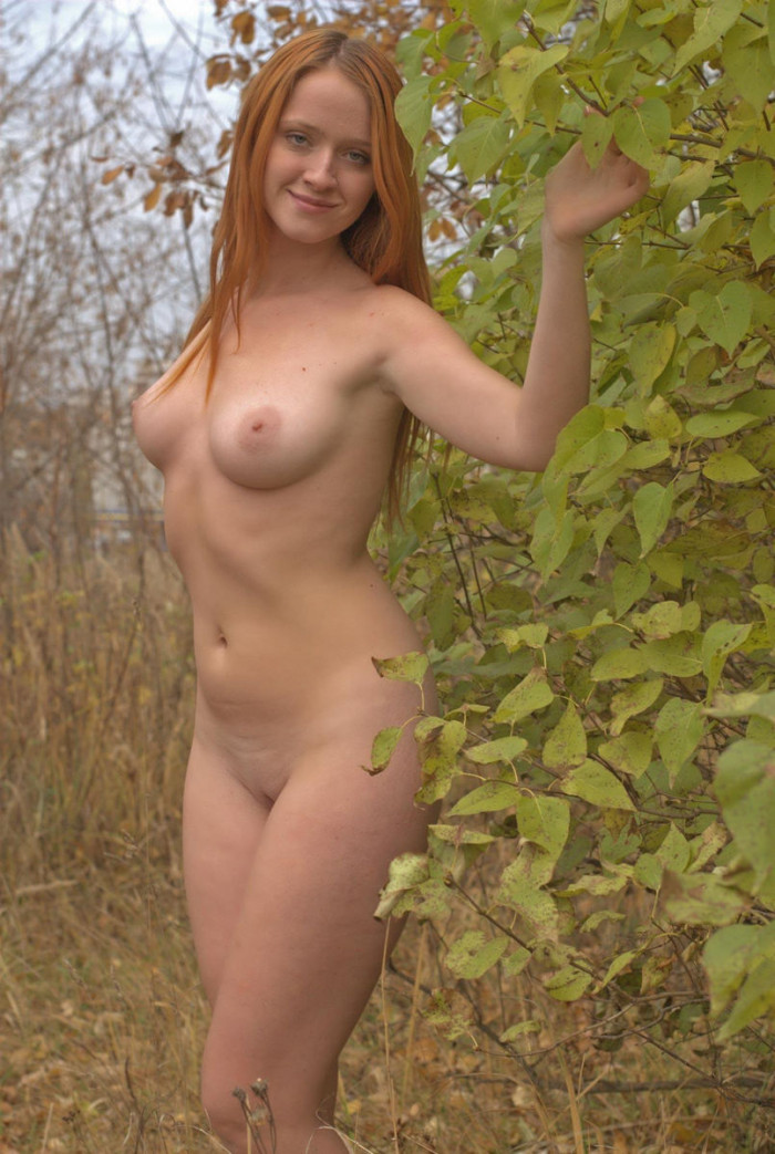 Smiling Redhead Is Stripping Outdoors  Russian Sexy Girls-6047