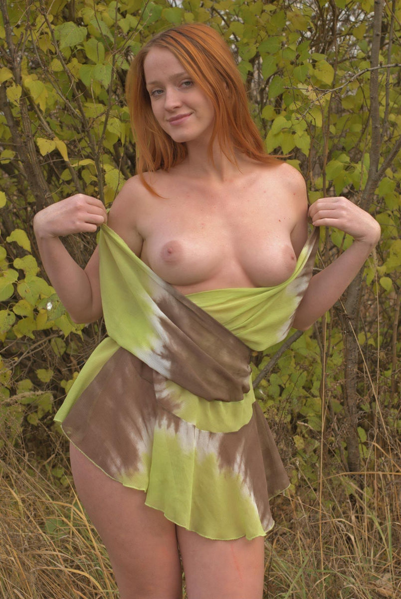 redhead outdoors strip video