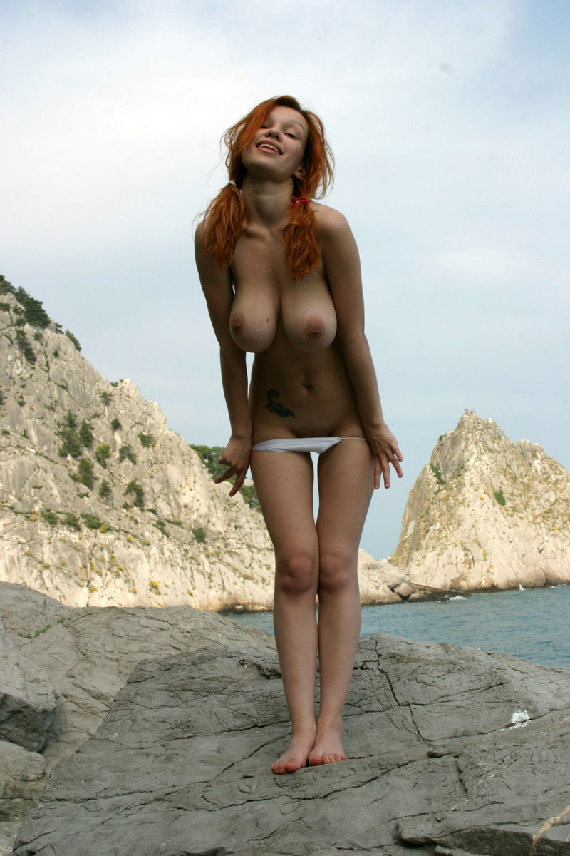 Smiling Redhead With Huge Boobs Undressing  Russian Sexy -7955