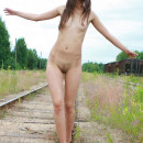 Very skinny girl with small tits on railroad