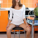 Beautiful session of young russian teen at kitchen