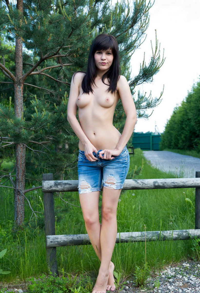 Brunette Takes Off Clothes Outdoors  Russian Sexy Girls-2136