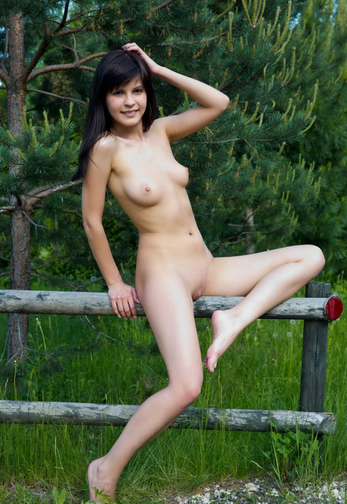Brunette Takes Off Clothes Outdoors  Russian Sexy Girls-4166