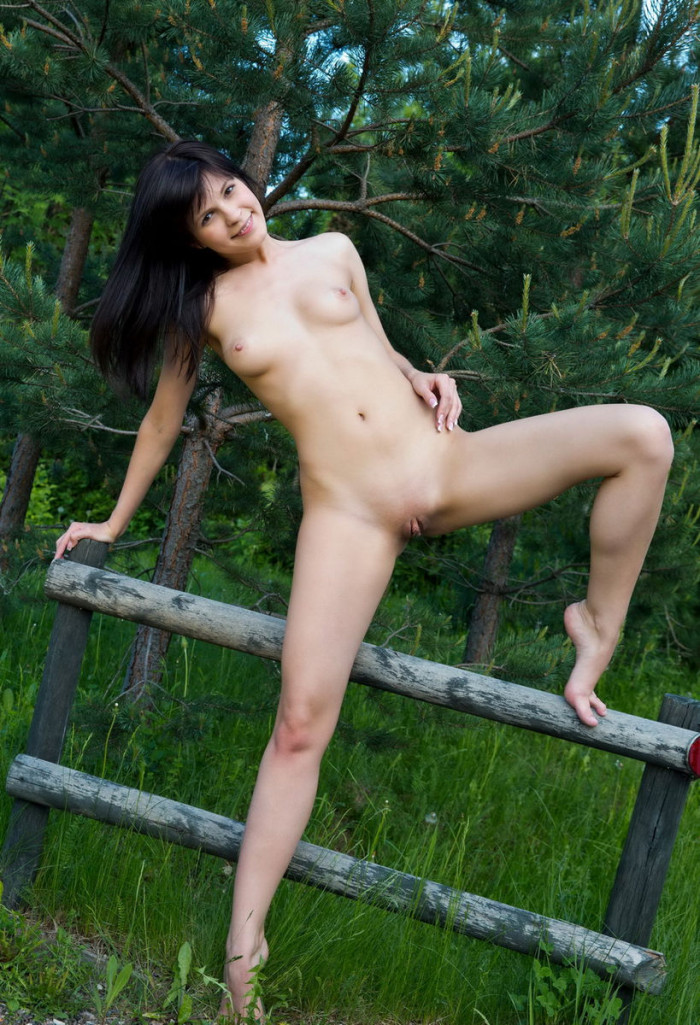 Brunette Takes Off Clothes Outdoors  Russian Sexy Girls-8898