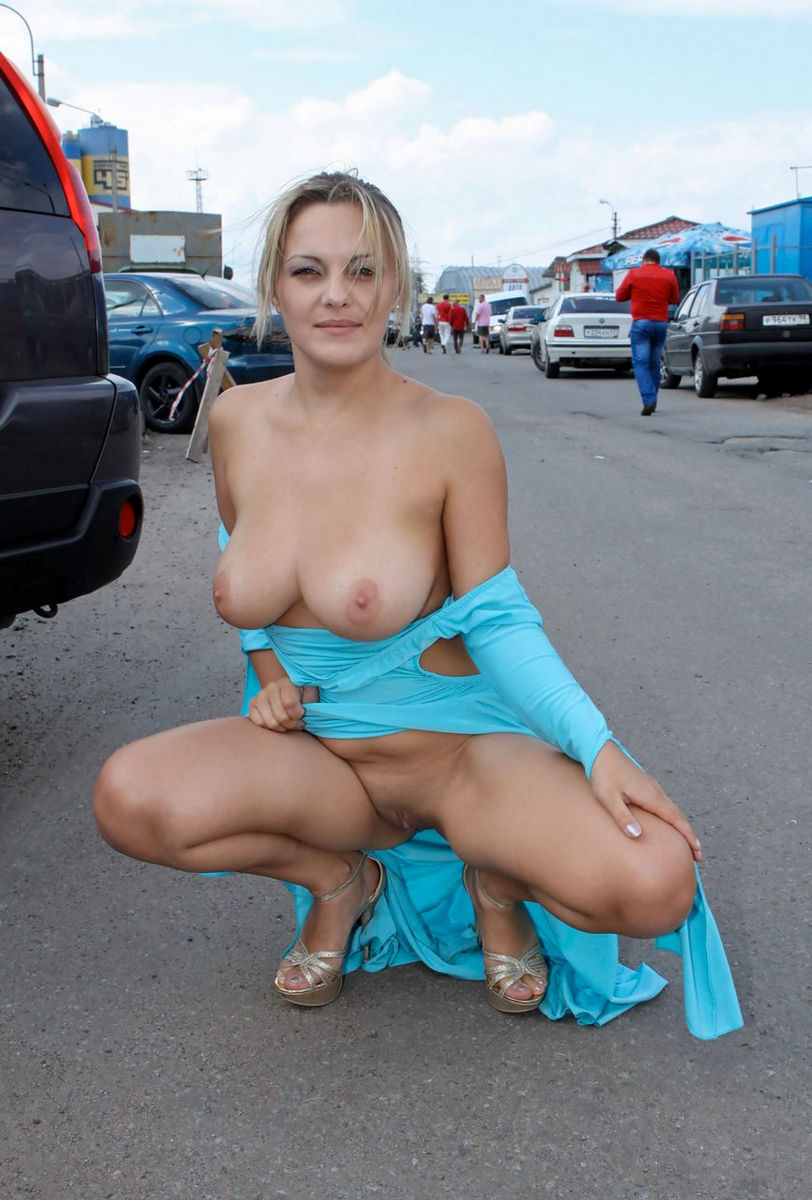 Busty Blonde In Blue Dress Flashes Boobs At Public -4944