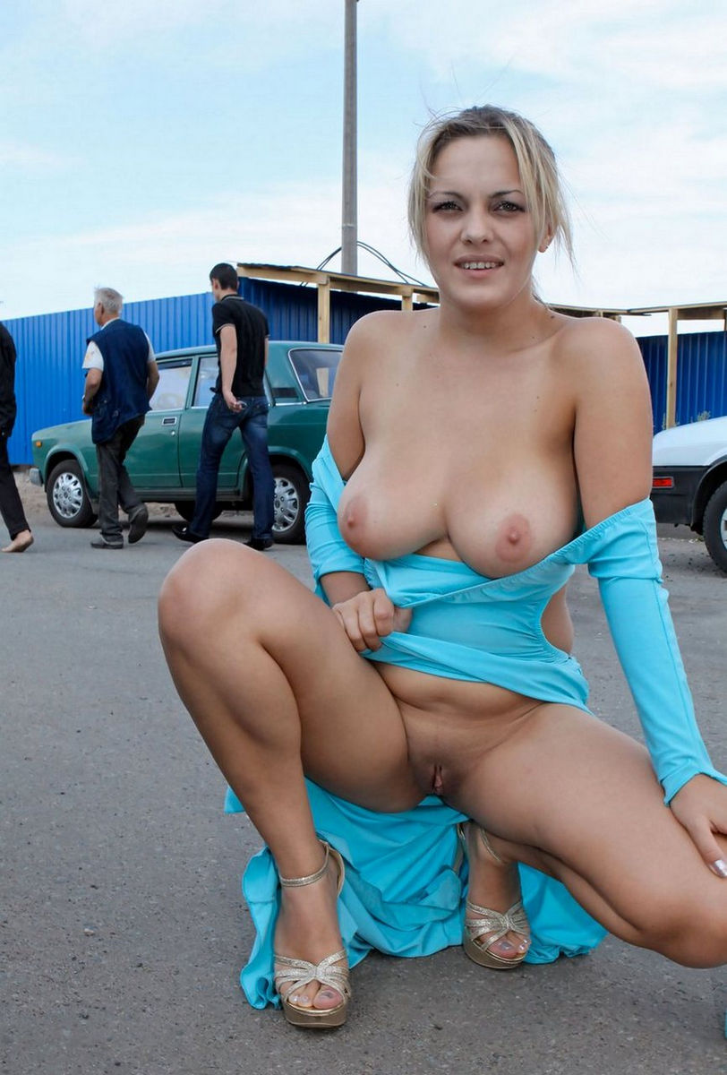 Girl showing boobs in public