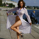 Busty russian girl on public pier