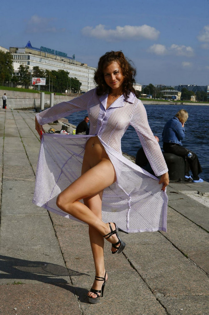 Busty Russian Girl On Public Pier  Russian Sexy Girls-7360