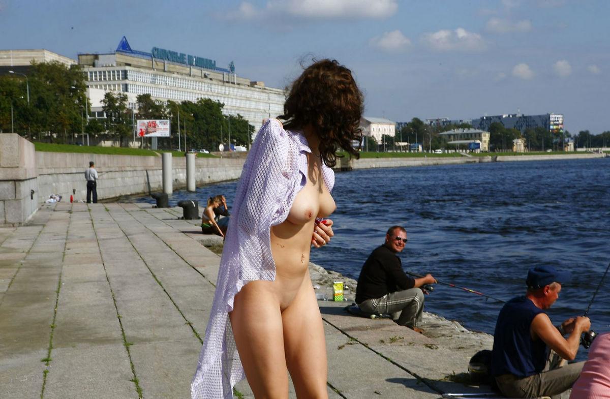 Busty russian girl on public pier | Russian Sexy Girls