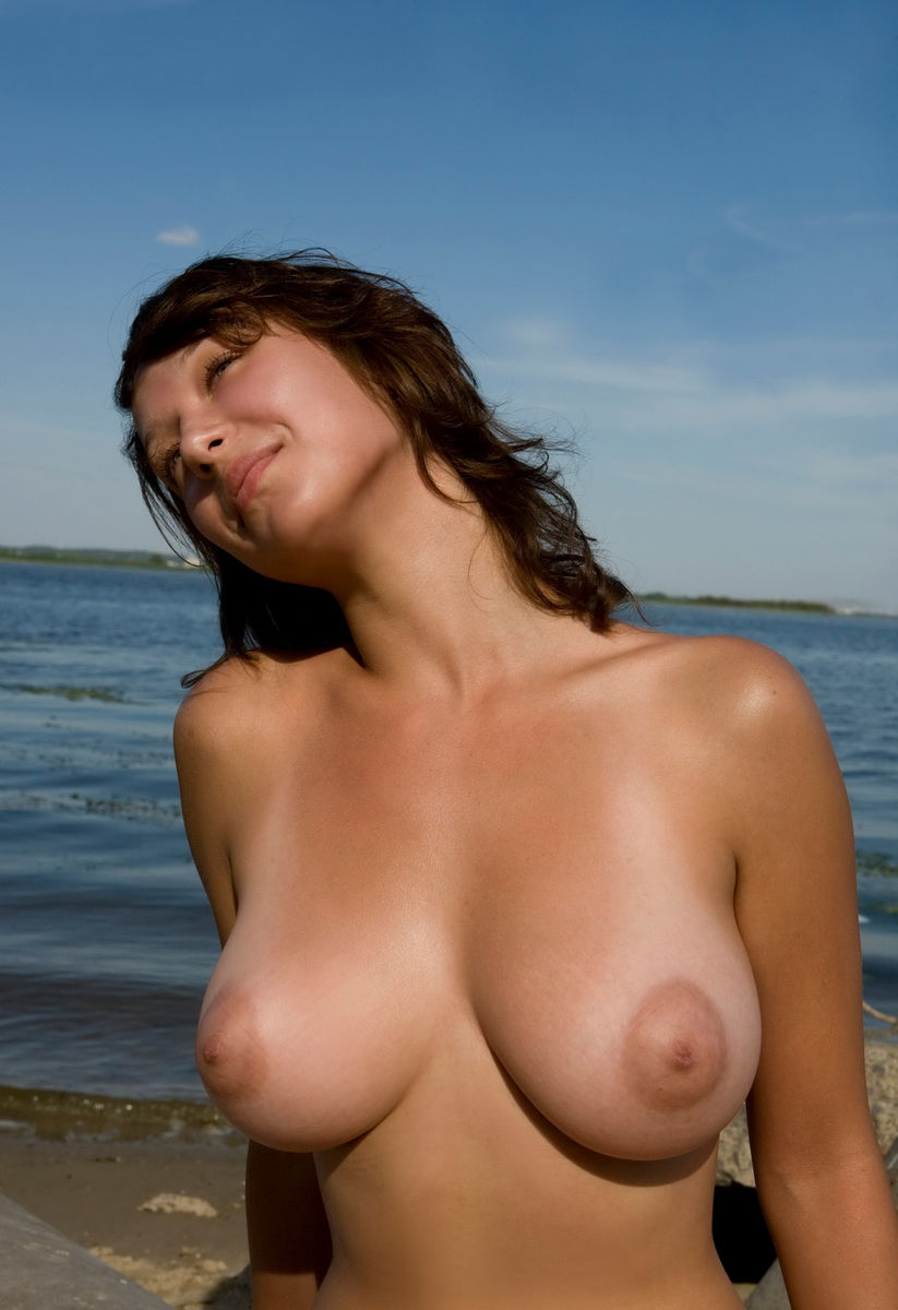 Girls with big boobs at the beach-5056