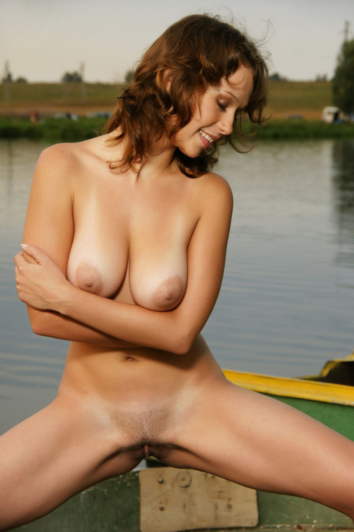 Lovely Russian Girl Exposes Big Boobs In Small Boat -9112