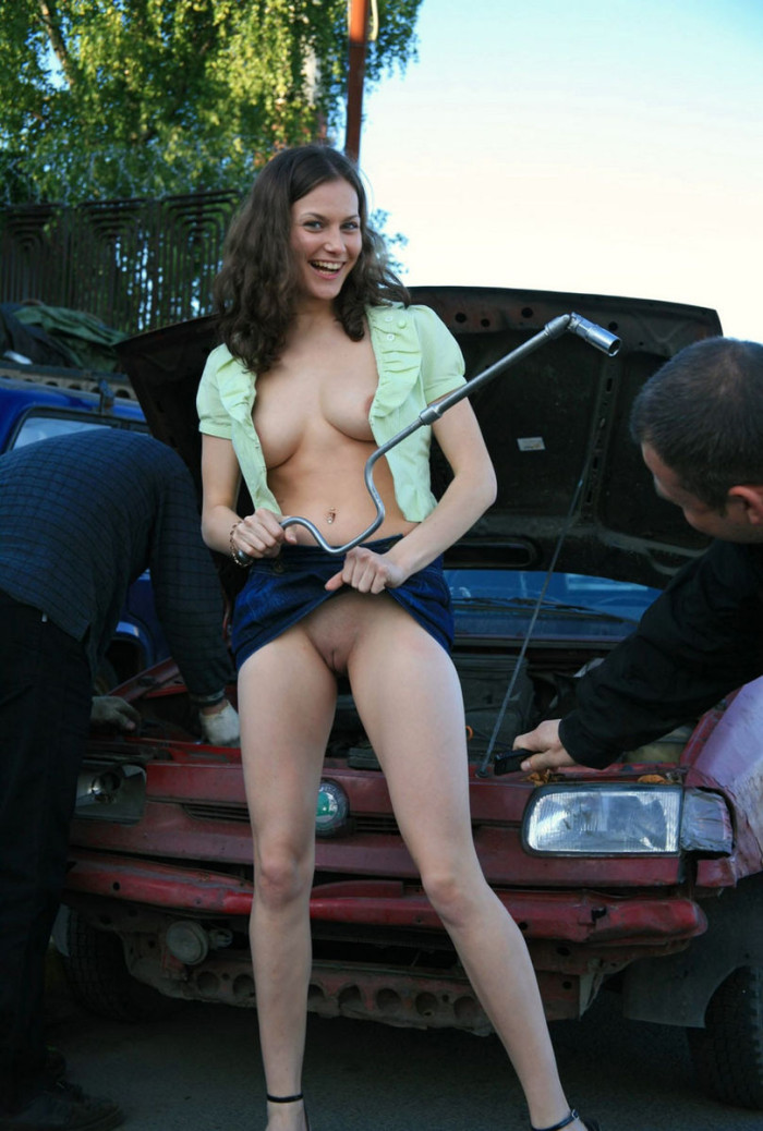 Naked girl in car