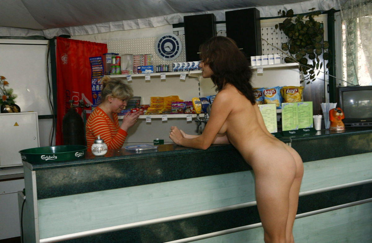 Nude woman at bar #7