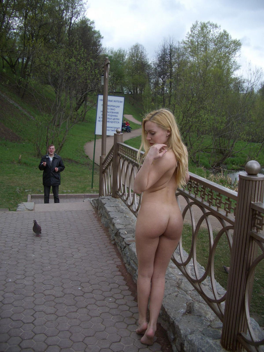 Girl walking naked in public