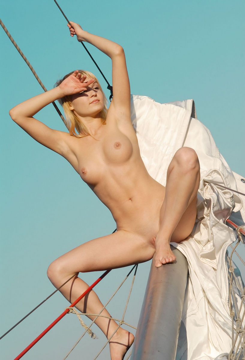 Short-Haired Blonde Shows Big Pussy On Boat  Russian Sexy -8493