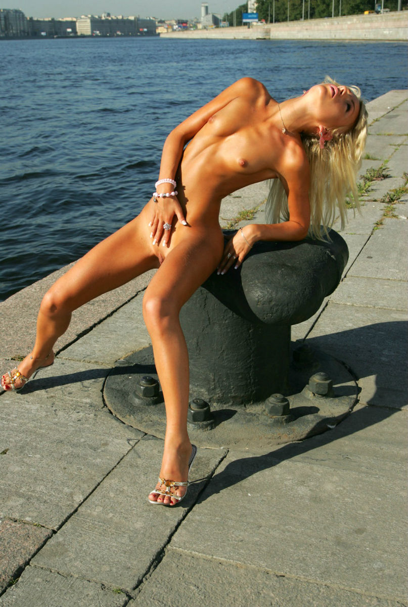 Skinny Russian Blonde With Small Tits At Public Quay -7087