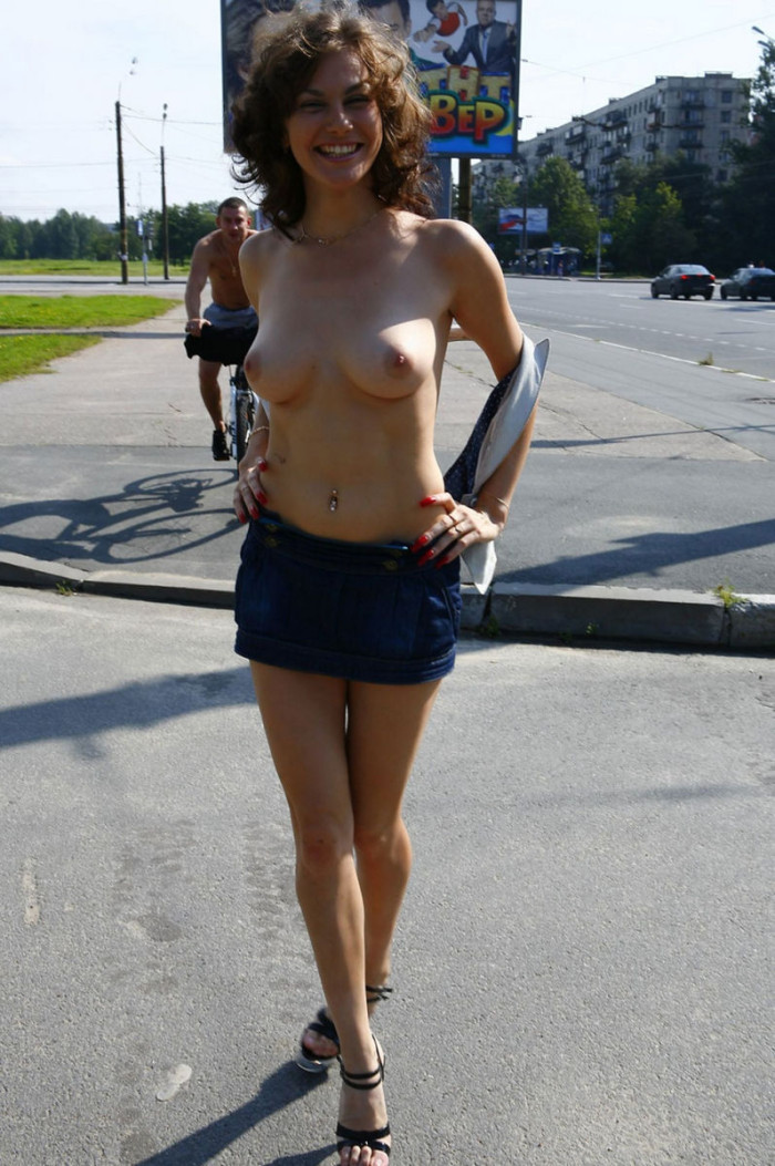 Skinny girl with small tits at public places