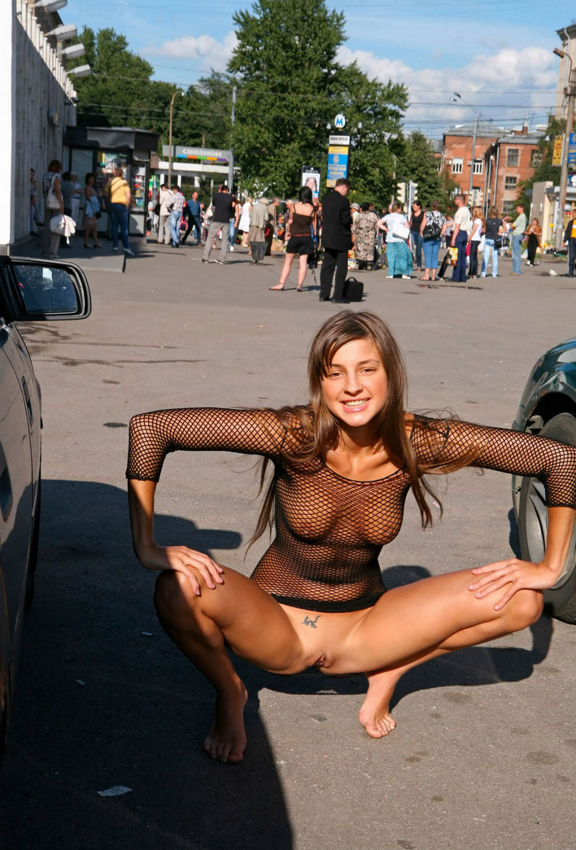 Smiling Teen Walks In Transparent Dress  Russian Sexy Girls-2326