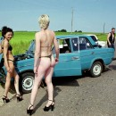 Two russian girl have problem with a car