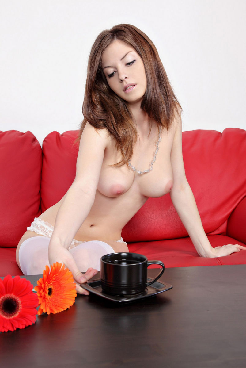 Very Beautiful Russian Girl On Red Sofa  Russian Sexy Girls-9652