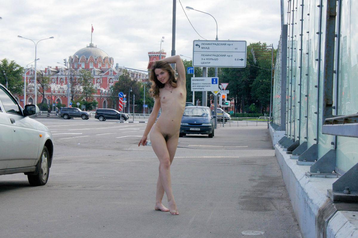 Naked girl in street-7842