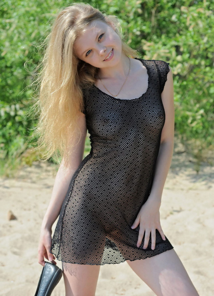 Very Sweet Russian Teen In Transparent Dress At Beach -6958