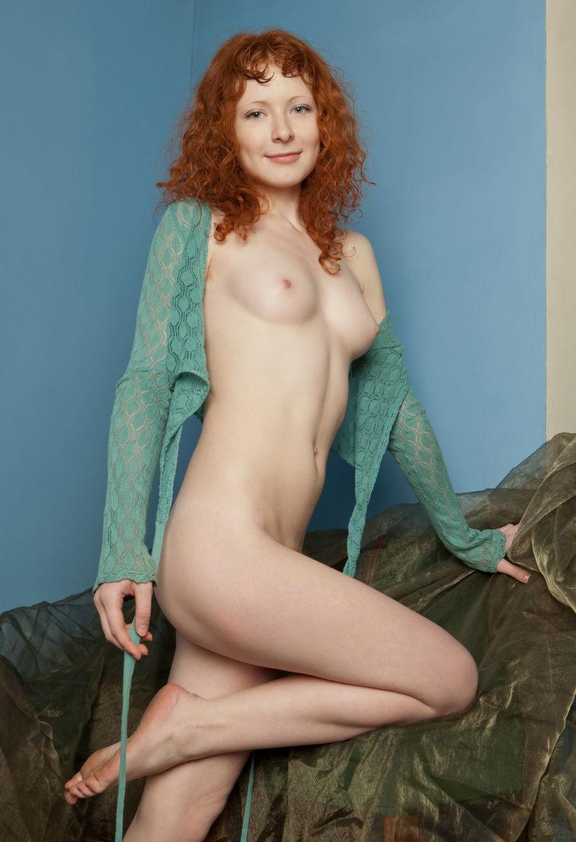 skinny redhead on fur