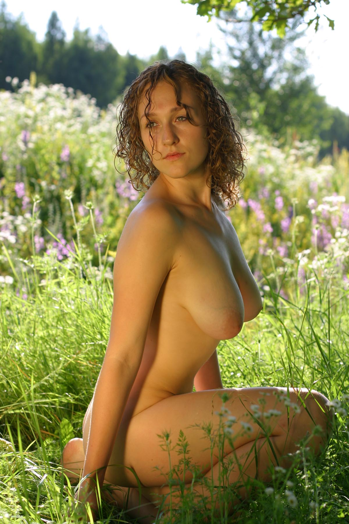 Curly russian girl posing naked outdoors | Russian Sexy Girls