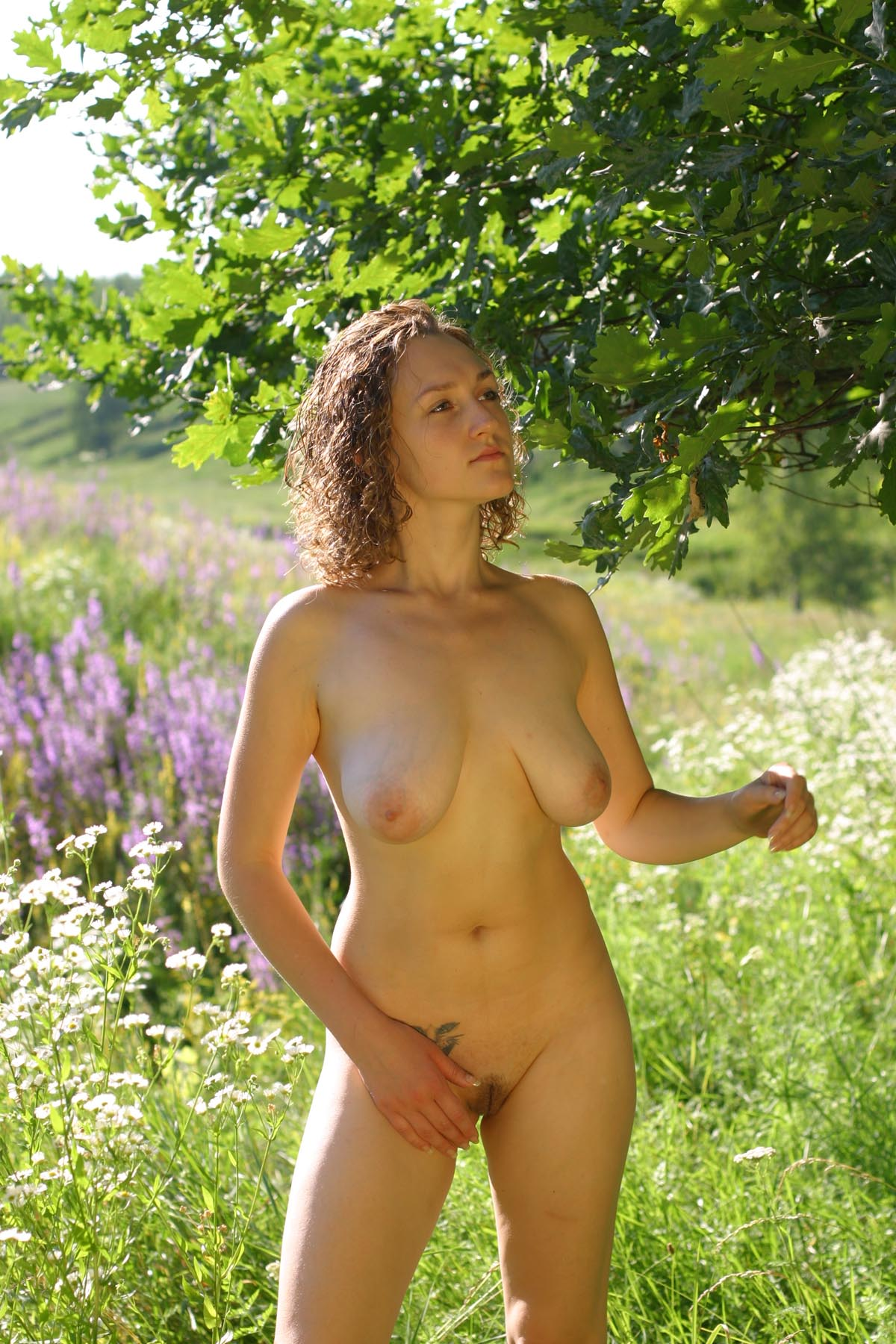 Curly Russian Girl Posing Naked Outdoors  Russian Sexy Girls-7279