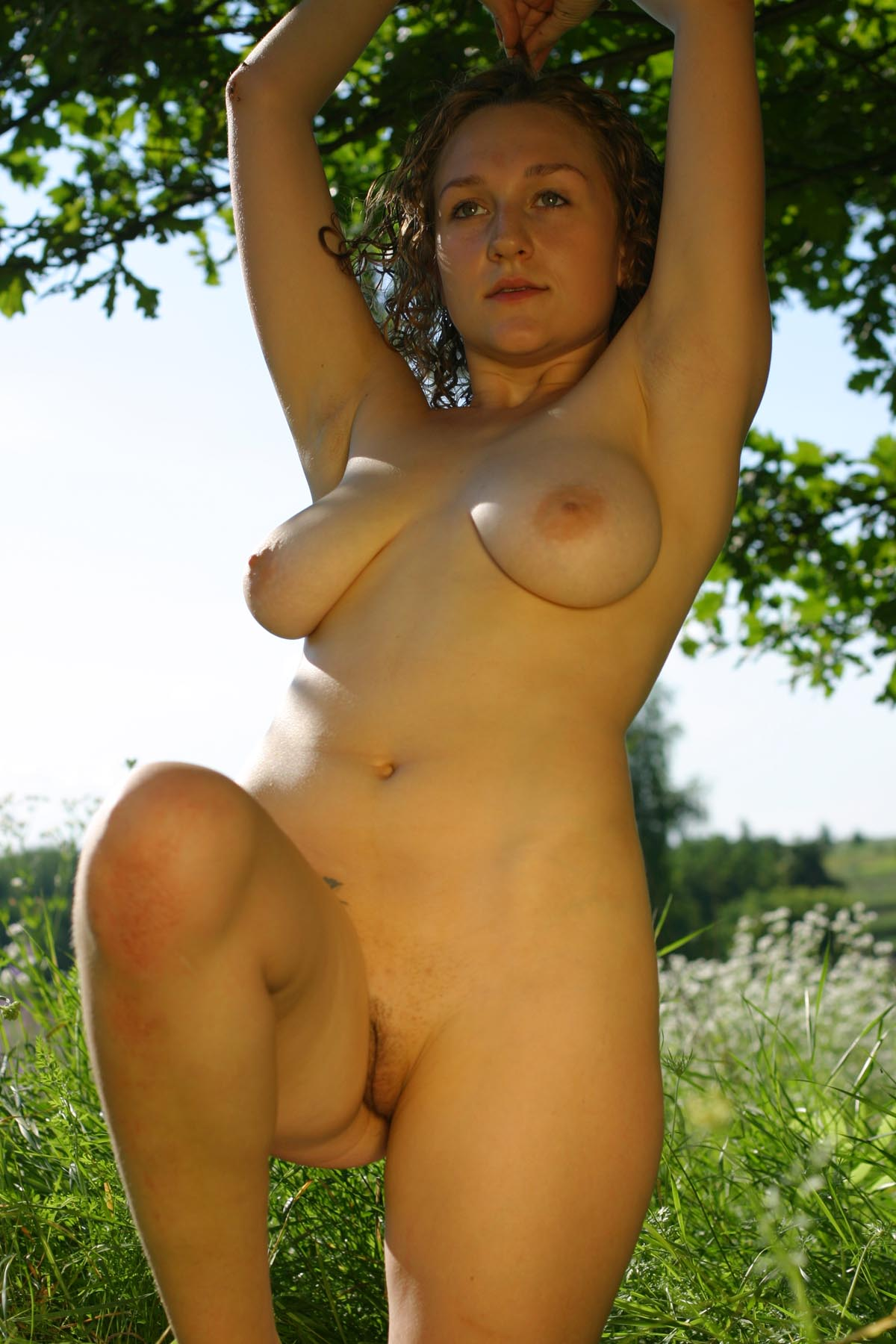 curly russian girl posing naked outdoors russian sexy girls