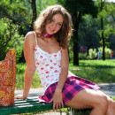 Funny russian dame with petite knockers walks nude at public park