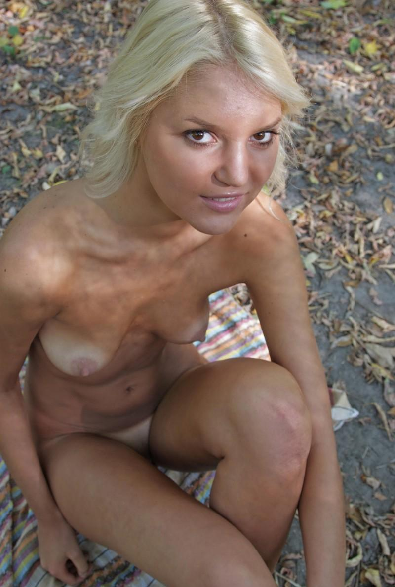 Hot Blonde With Tan Lines Exposes Her Goods At Forest -5856