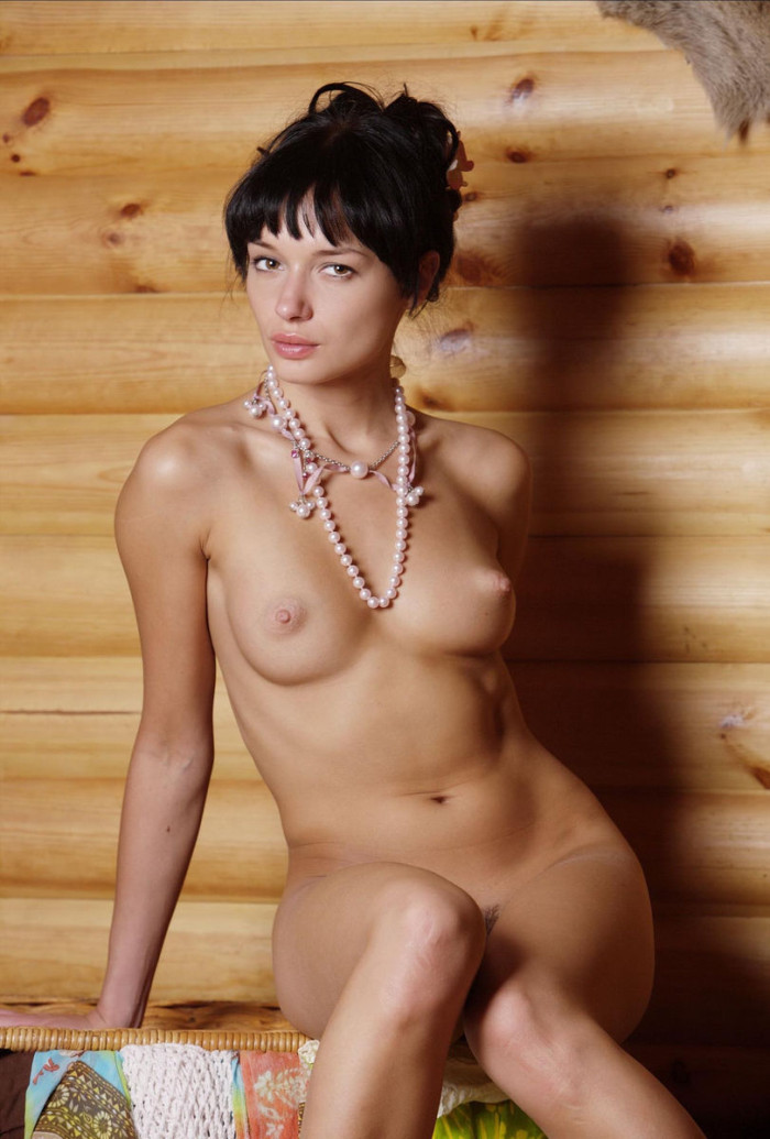 Hot Brunette Demonstrates Her Goods At Country House