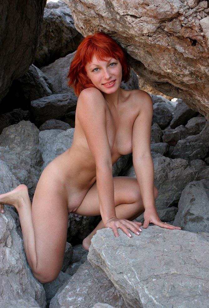 Redhead Posing Naked At Rocks  Russian Sexy Girls-2748