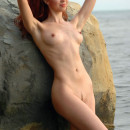 Redhead with amazing body at sea