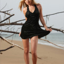 Russian girl with perfect body is undressing on the beach
