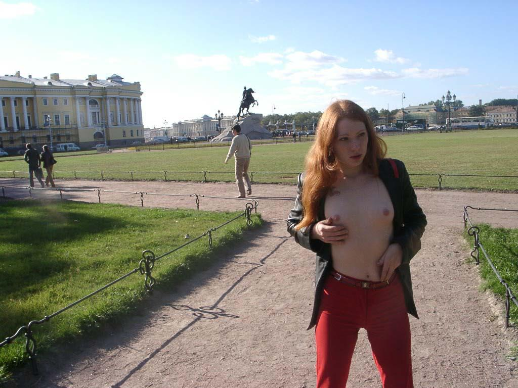 Russian Redhead Teen Flashes Her Young Tits At Public -3502